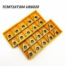 20 قطعة مخرطة أداة TCMT16T304 UE6020 الخارجية تحول أداة عالية الجودة كربيد قطع عدة المخرطة TCMT16T304 المعادن تحول أداة