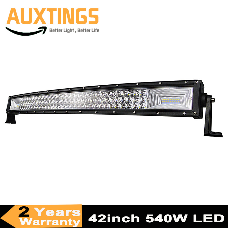 7D Curved led light bar 540W 42inch Triple Row Spot Flood Combo Offroad Light Driving Lamp