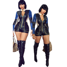 new womens PU leather jumpsuit fashion stitching sexy slim nightclub club party