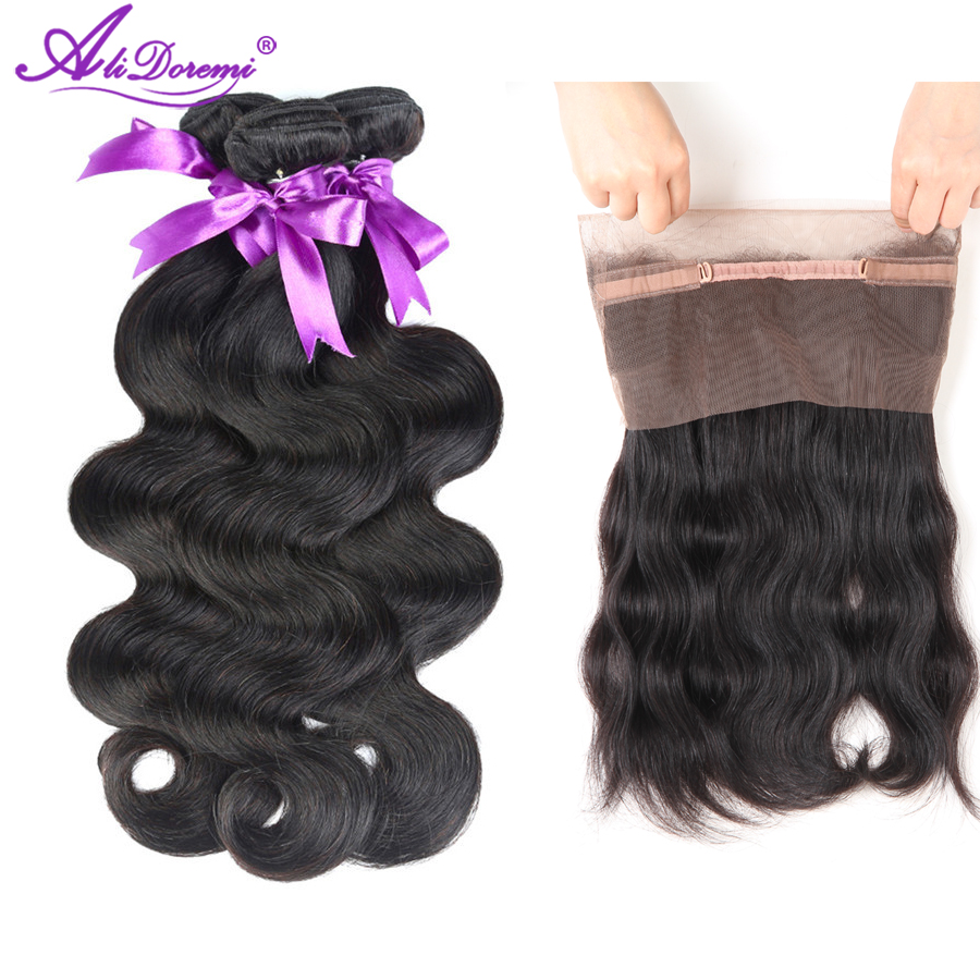 Alidoremi Pre Plucked 360 Lace Frontal With BundleS Body Wave Peruvian Human Hair Weave 3 Bundles with Frontal Closure Non-remy