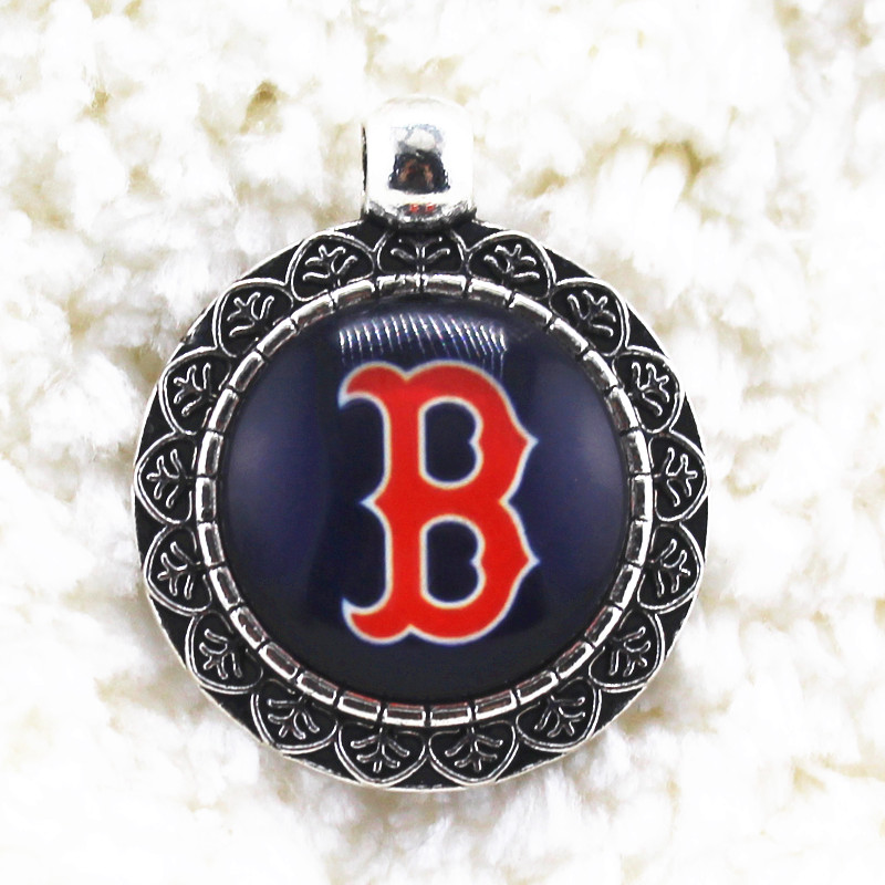Fashion Jewelry 10pcs/lot Boston Red Sox Team Sports Alloy Glass Pendant For Necklace Bracelet Bangles Hanging Dangle Charms