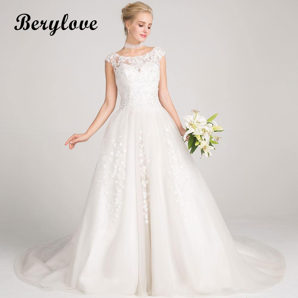 BeryLove Elegant A Line White Wedding Dresses 2018 Long Beaded Flowers Wedding Dress Court Train Women Styles Wedding Gowns