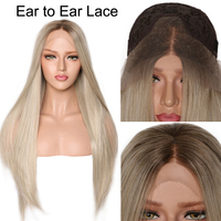 Synthetic Lace Front Wig For Black Women Blonde Lace Front Wig Ombre Long Straight Lace Wig Synthetic Hair Average Cap 22 22.5