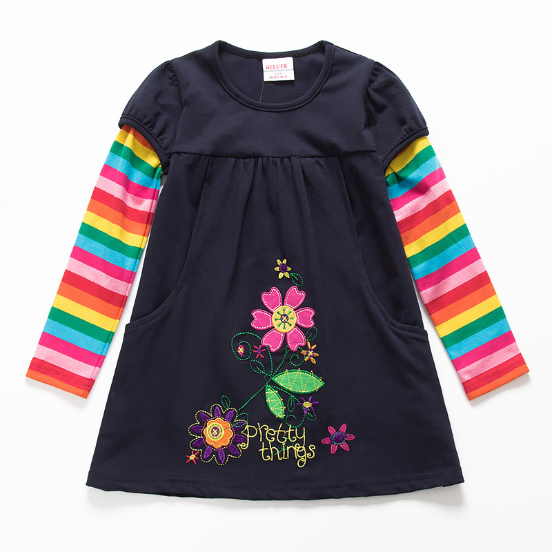 Toddler Flower Girl Dress Infant Printed Kid Floral Clothing Cotton Long Sleeve Navy Baby Girls Winter Dresses For 3-7 Years