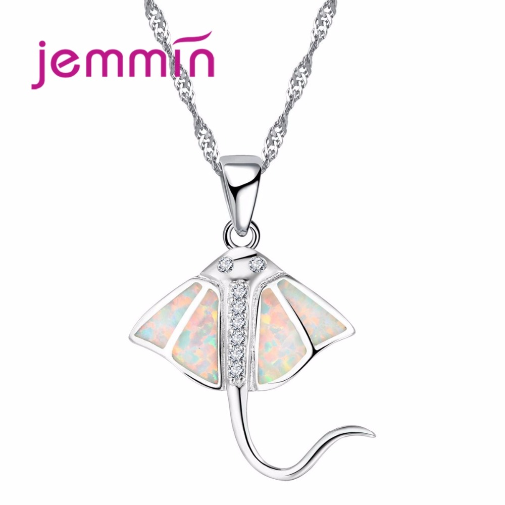 Jemmin Women Pendants Necklaces 2019 Fine 925 Sterling Silver White Opal Rhistone Necklace For Party Birthday Accessory For GirlJemmin Women Pendants Necklaces 2019 Fine 925 Sterling Silver White Opal Rhistone Necklace For Party Birthday Accessory For Girl