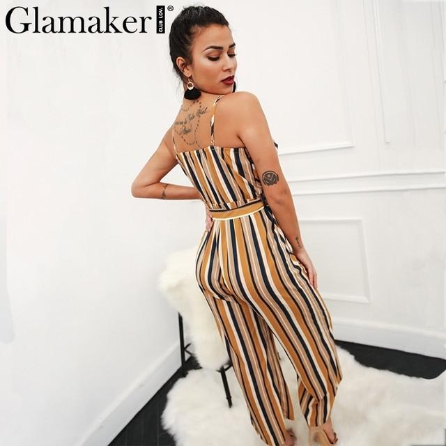 Glamaker Sexy multi striped wrap high waist jumpsuit romper Women loose belt long summer playsuit Female strap jumpsuit overalls 2