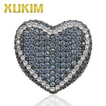 Xukim Jewelry New Pink Purple Blue Stone Cubic Zirconia Love Heart Mens Rings Iced Out Hip Hop Jewelry Gift for Couple Lover xukim jewelry silver gold color cubic zirconia iced out paw dog cat claw pendant necklace hip hop jewelry