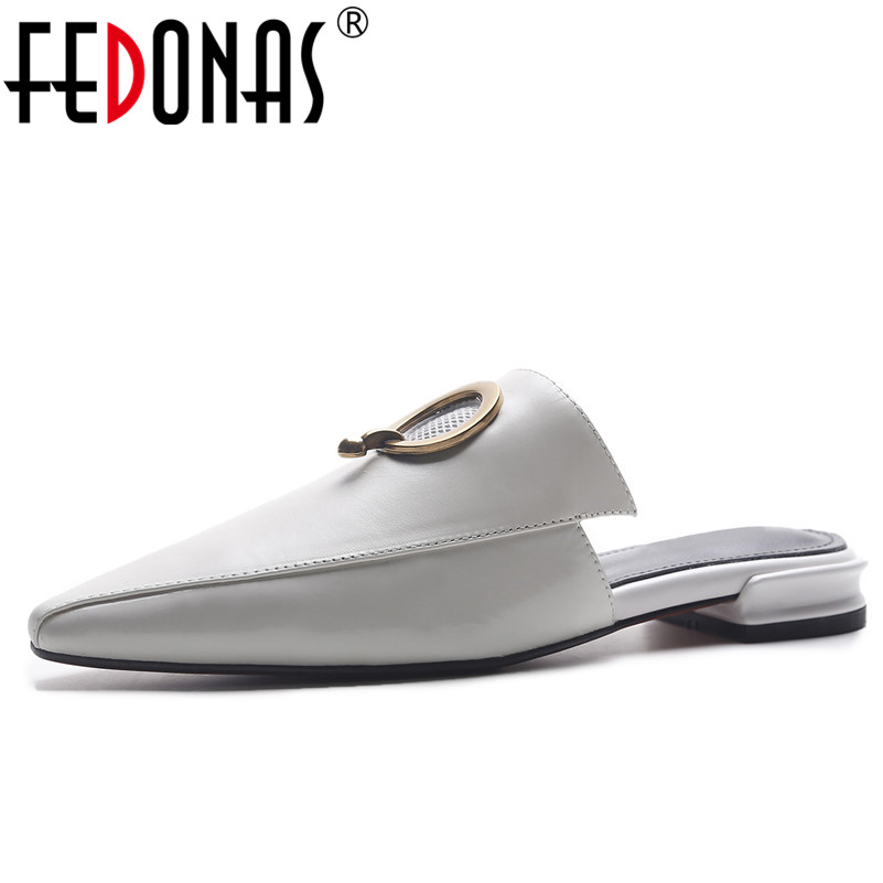 FEDONAS Women Sandals Summer 2018 Low Heel Slippers Causal Ladies Autumn Genuine Leather Shoes Woman Pointed Toe Sandals 2018 spring summer low heel sandals pointed toe shallow mouth women shoes woman cozy casual shoes leisure single ladies shoes cy