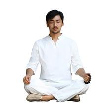 Spring Men Yoga Set Linen Loose Wide Leg Pant Shirts Male Martial Arts Tai Chi Uniform Meditation Suit Casual