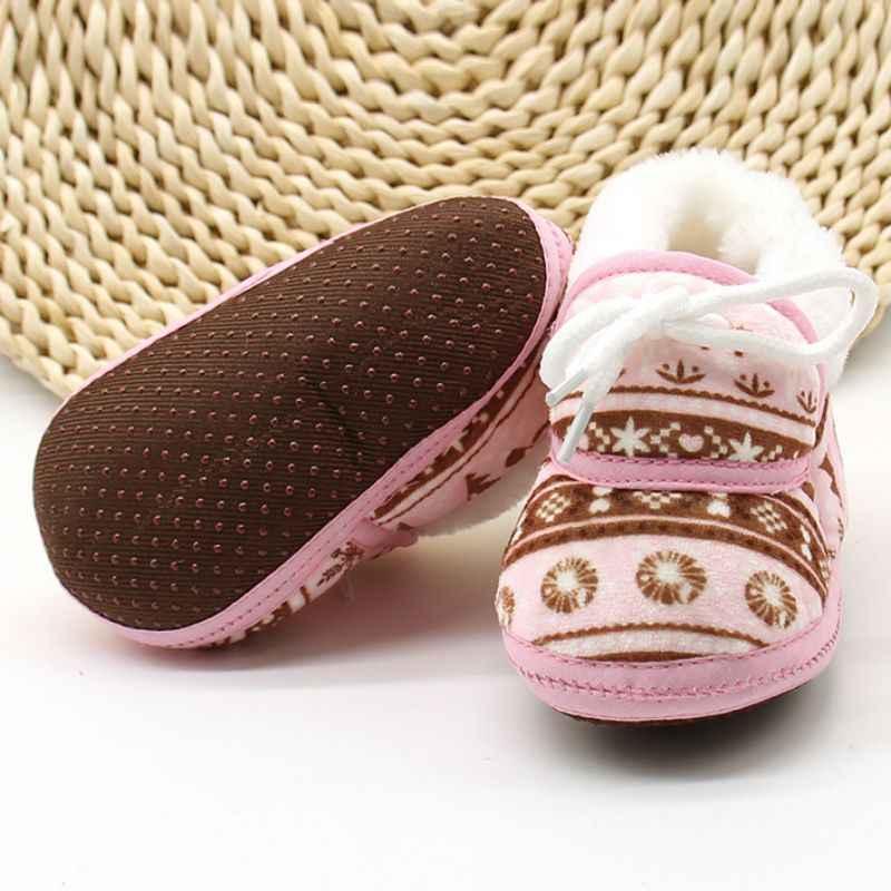 Leuke Baby Schoenen Lente Warme Zachte Baby Retro Printing Schoenen Katoen Gevoerde Kind Baby Jongens Meisjes Zachte Laarzen 6- 12 m