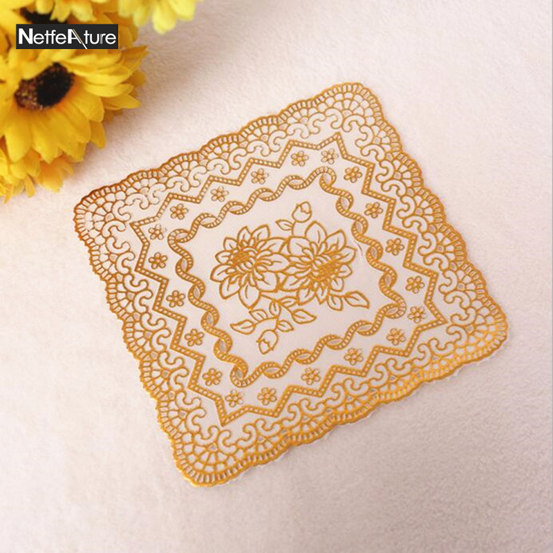 10PCS/lot PVC Bronzing Gold Cup Mat 15cm Square Small Cushion Heat  Resistant Mat Cup Coffee Coaster Bowl Placemat Free Shipping