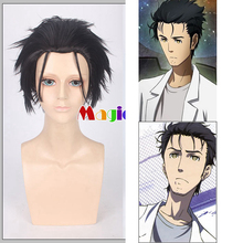 Steins Gate Rintarou Okabe Cosplay Wig Black Short Straight Halloween Synthetic Hair