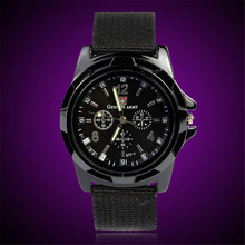 bowaiwen man watch Fashion Gemius Army Racing Force Military Sport Men Officer Fabric Band Watch