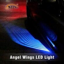 OKEEN, ангельские крылья, светодиодный светильник для двери автомобиля, белый, синий, красный, зеленый цвет, проектор, светодиодный ковер, лужа, светильник, подсвечивающий, подходит для всех автомобилей