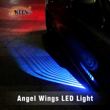 OKEEN 天使の羽 LED 車のドアライト白青赤緑の色プロジェクター ange led カーペット水たまりライト underglow フィットすべての車