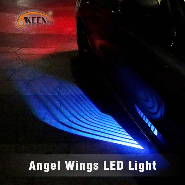 OKEEN כנפי מלאך LED רכב דלת אור לבן כחול אדום ירוק צבע מקרן ange led שטיח שלולית אור underglow fit כל מכוניות