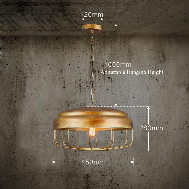 Loft RH Pendant Light Edision 110V 220V Lamp Shade Retro Sling Chain Hanging Lamps Gold Abajour
