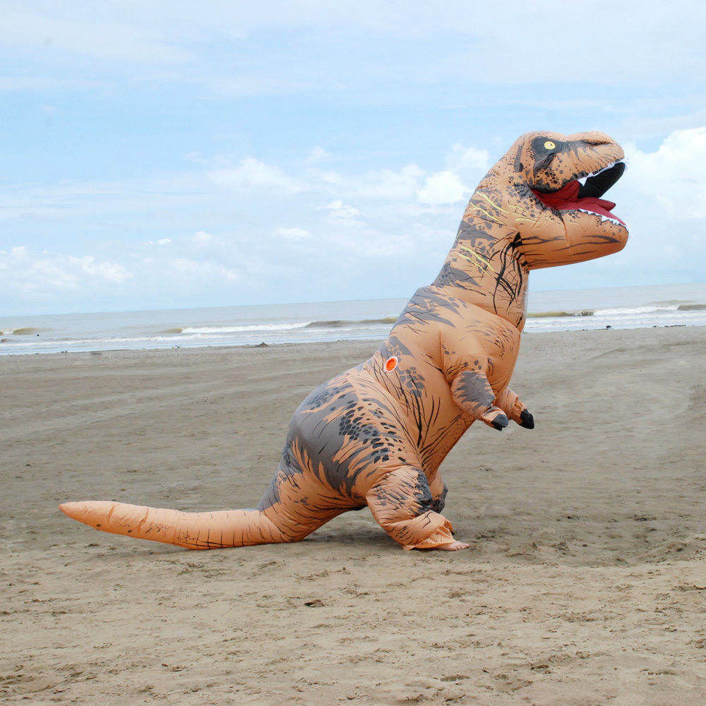 Jurrasic World Cosplay Costume Halloween Dinosaur Dress T-Rex Funny Dress Inflatable Suit Full Body Christmas Party Jumpsuit
