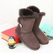ที่มีคุณภาพสูง2016ฤดูหนาวใหม่ออสเตรเลียขนแกะหนึ่งรองเท้าหิมะอบอุ่นหนังลื่นรองเท้าจัดส่งฟรี