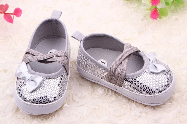 Hot Baby Girl Dress Shoes Bling Solid Elastic Band Cute Bowknot Baby Girl Toddler Shoes For 0-15 Months