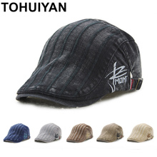 TOHUIYAN Retro Cotton Newsboy Cap For Men Duckbill Visor Pea