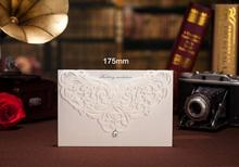 100pcs Printable Ivory White Classic Style Wedding Invitations Cards Custom With Rhinestone Laser Cut Flower CW3129