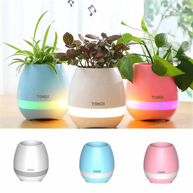 Música à prova dwaterproof água bonsai vaso de flores sem fio bluetooth alto falante luz da noite lâmpada música bluetooth alto falante para o telefone móvel| | - AliExpress