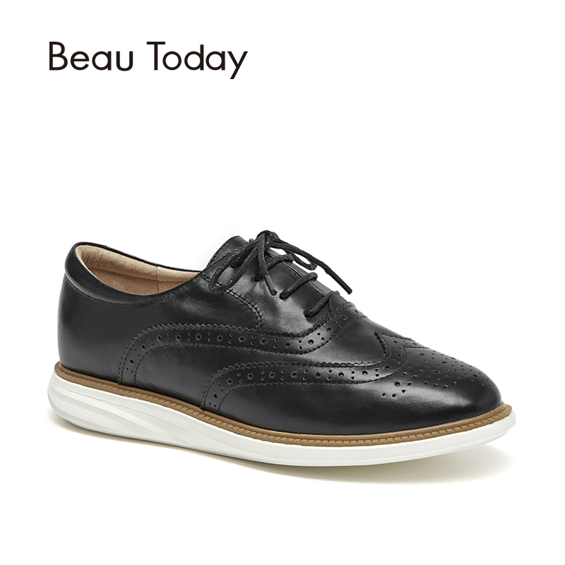 BeauToday Women Oxfords Calfskin Genuine Leather Brogue Style Round Toe Lace-Up Lady Flat Shoes Handmade 21332 plus size 32 45 brogue shoes women genuine full grain leather round toe lace up 2018 fashion handmade lady flats wingtip oxfords