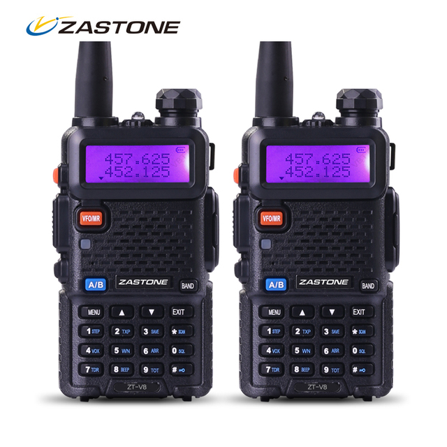 Zastone Walkie Talkie Par V8 de Doble Banda VHF UHF de Dos forma equipo de comunicación misma como baofeng ham radio transceptor hf uv5r