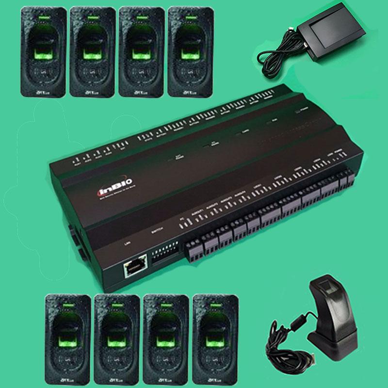Inbio460 Kit fingeprint & Rfid card access control panel Four Door Access Access System+ ...