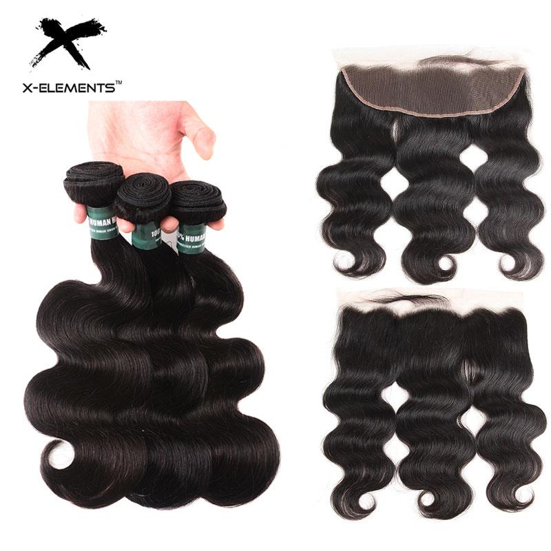 X Elements Hair 13x4 Lace Front 2 3 Bundles With Closure Peruvian Body Wave Hair Bundles