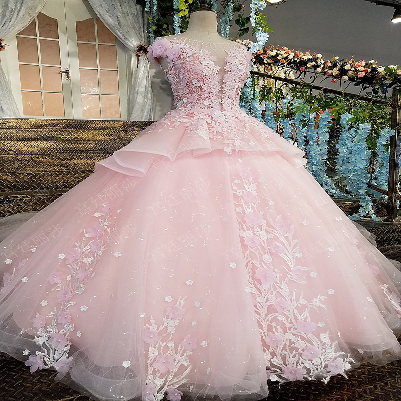 Puffy Pink  Quinceanera Dresses  2018 Sweetheart Top Beaded  Sweet 16 Ball Gowns   Years Birthday Party Prom Dress(China)
