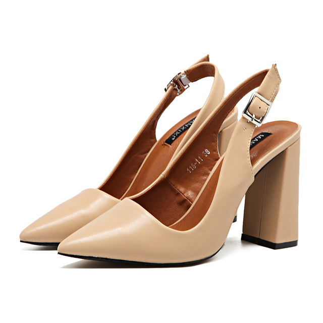 2017 spring summer new pointed toe high heels belt buckle career women Thick heels fashion slingback sexy high heels pumps