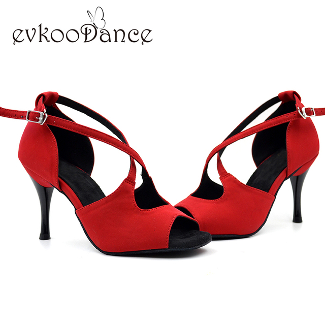 Nubuck Latin Dance Shoes Girls Sandals 8.5cm Slim high heel soft sole Red  Black Salsa tango Women Latin Shoes NL007 fb25f64b51cd