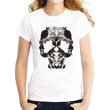 Funny Graphic Tees Short O-Neck Best Friend  Cat Skull Shirts For Women