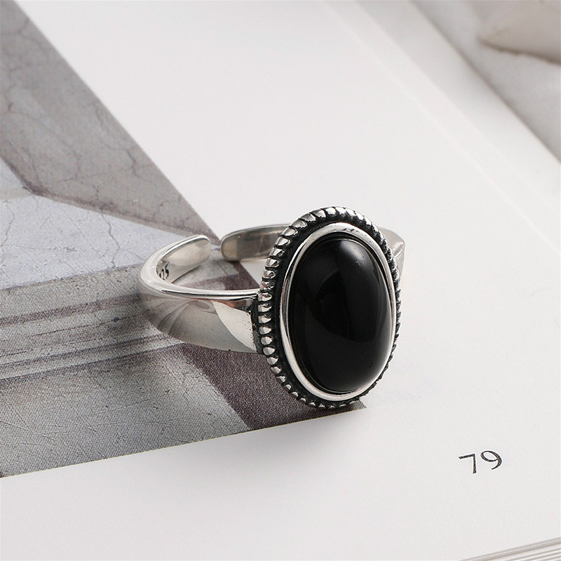 Flyleaf Black Onyx Rings For Women Real 925 Sterling Silver Fine Jewelry Open Ring Vintage 100% Natural Stone Mother's Gift