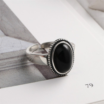 Flyleaf Black Onyx Rings For Women Real 925 Sterling Silver Fine Jewelry Open Ring Vintage 100% Natural Stone Mothers Gift