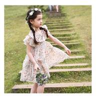 Retail England Girls Princess Dress Summer Party Dresses Kids Floral Ruffles Korean Kids Flare Sleeve Dresses