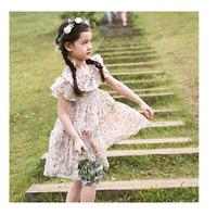 Retail England Girls Princess Dress Summer Party Dresses Kids Floral Ruffles Korean Kids Flare Sleeve Dresses