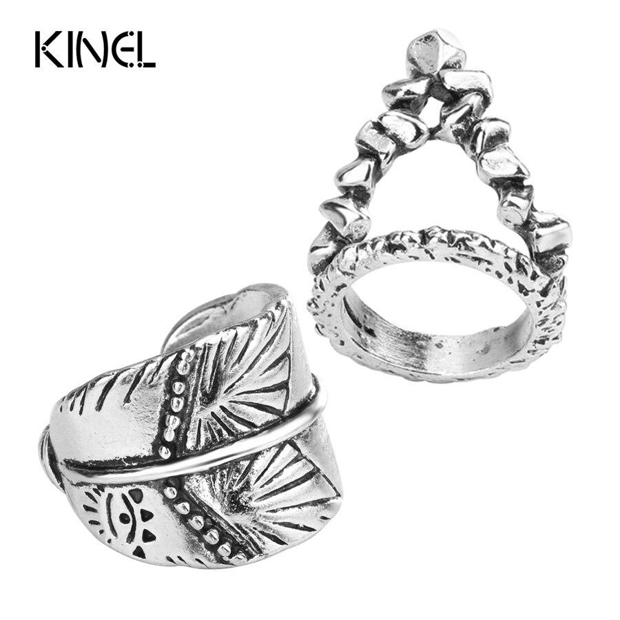 Kinel Fashion 2Pcs Bohemia Womens Rings Sets Antique Silver Color Unique Pattern Knuckle Midi Ring Retro Jewelry 2017 New