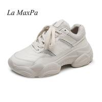Genuine Leather + Mesh Women's Platform Dad Sneakers 2018 Lace up Women Flat Walking Breathable Shoes Woman Casual Footwear