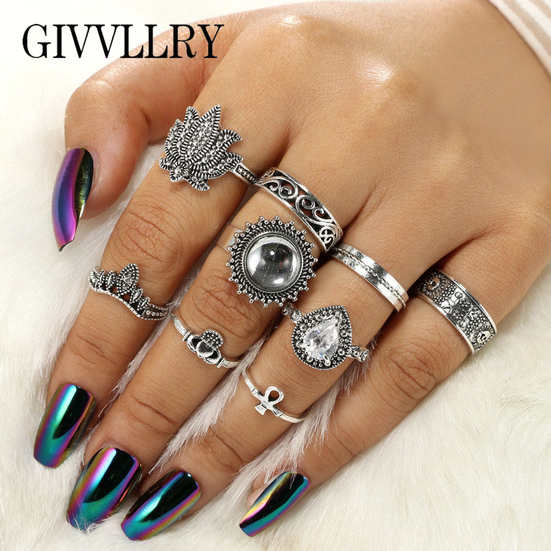 GIVVLLRY Vintage Midi Rings for Women Boho Antique Silver Color Ethnic Totem Opal Stone Inlay Knuckle Rings Set Fashion Jewelry