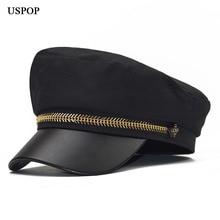 USPOP 2019 winter caps wool newsboy patchwork PU brim hats metal fish bone military thick flat top visor