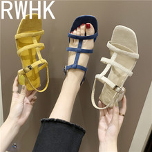 RWHK Sandals female fairy wind 2019 new Korean version of the wild square head with thin Roman thick heels B104