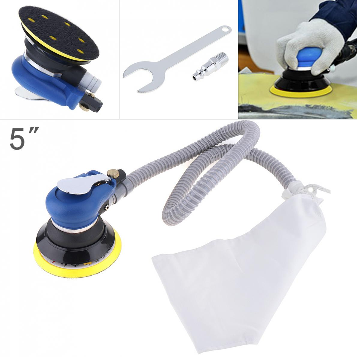 5 Inch 10000RPM Self-vacuuming Pneumatic Sander Machine With 1m Air Tube And 6-hole Matte Surface Polishing Sanding Pad