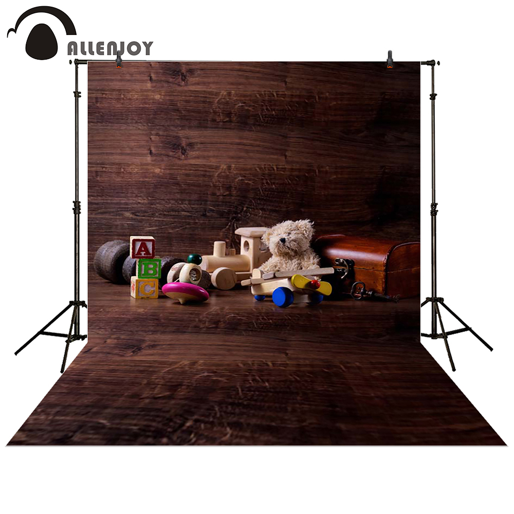 Allenjoy photography backdrop Dolls wooden floor box brown baby shower children background photo studio photocall allenjoy christmas photography backdrop wooden fireplace xmas sock gift children s photocall photographic customize festive