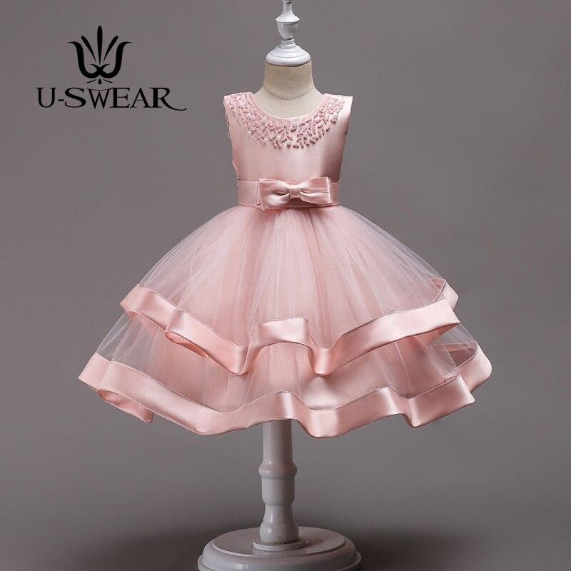 U-SWEAR 2018 Kid Lovely Flower Girl Dresses 6 Colors Beading Ruffle Soft Ball Gown For Wedding Communion Dresses Vestido
