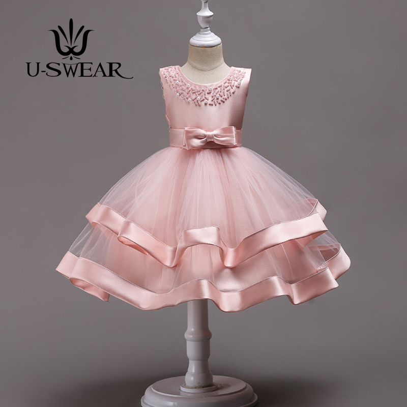 U-SWEAR 2018 Kid Lovely Flower Girl Dresses 6 Colors Beading Ruffle Soft Ball Gown For Wedding Communion Dresses Vestido