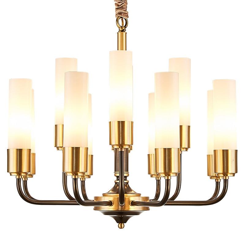 Image 5 - LED luxury Copper chandelier lighting living room pendant lamps American dining room fixtures Nordic bedroom hanging lightsChandeliers   -