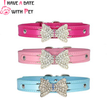 Pink Rhinestone Dog Collar  for Big PU Leather Leash dogs adjustable Pet necklace Pets Accessories Dogs Safety